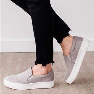Grey soft micro suede slip on sneaker